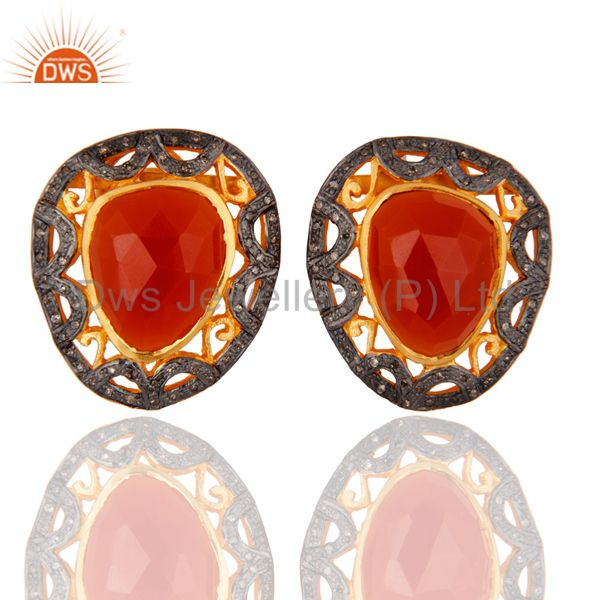 Pave Set Diamond Natural Carnelian Sterling Silver Latest Designer Stud Earrings