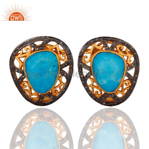 Natural Pave Set Diamond Turquoise Gemstone Earrings With 925 Sterling Silver