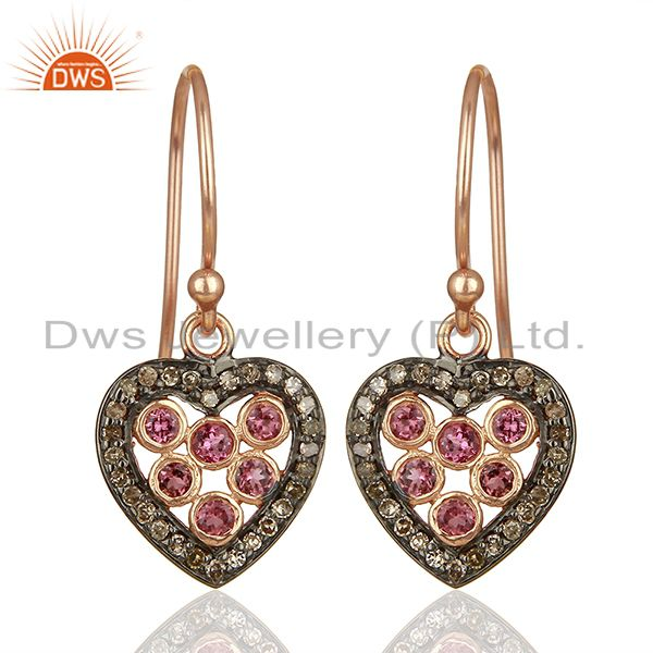 Heart Design 925 Silver Pave Diamond Gift for Her Earrings Wholesale