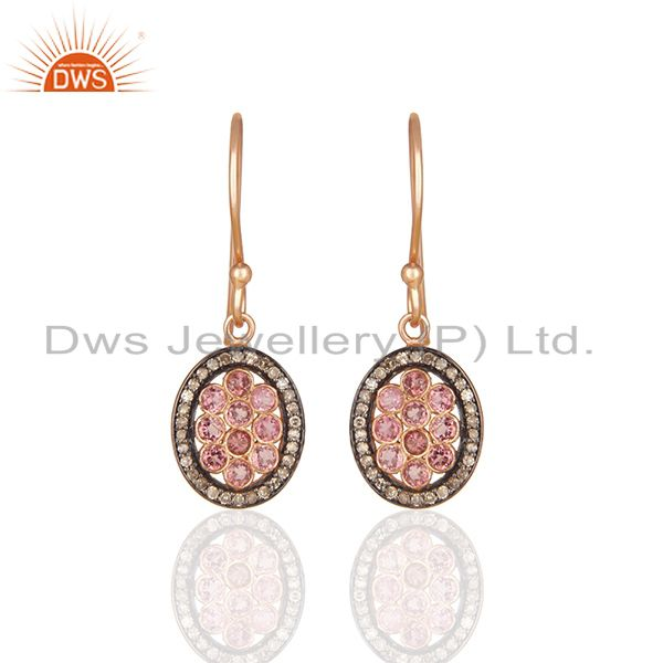 Pave Diamond and Pink Tourmailne Gemstone Drop Earrings Manufacturer