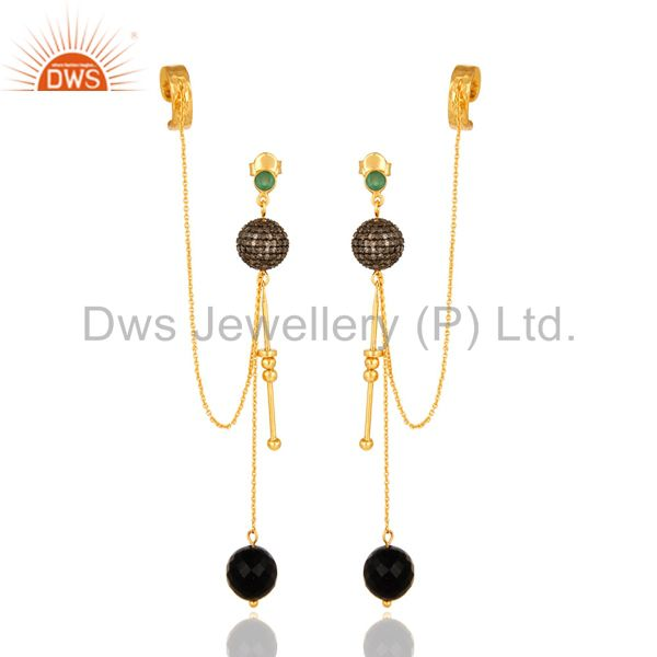 Designer Sterling Silver Diamond Pave Black Onyx Ear Cuff Earrings - Gold Plated