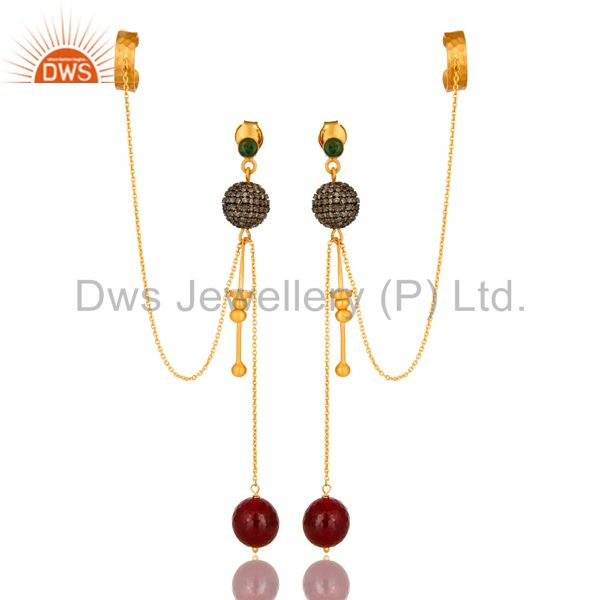 18K Yellow Gold And Sterling Silver Ruby And Pave Diamond Chain Ear Cuff Earring