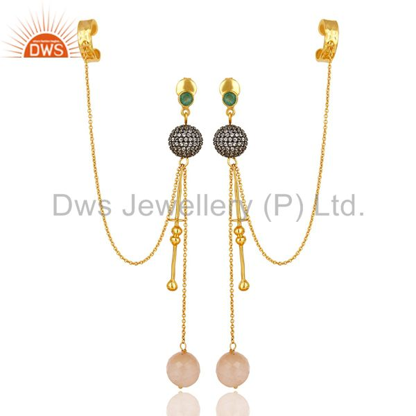 22K Yellow Gold Plated Sterling Silver Emerald And CZ Fashion Ear Cuff Earrings
