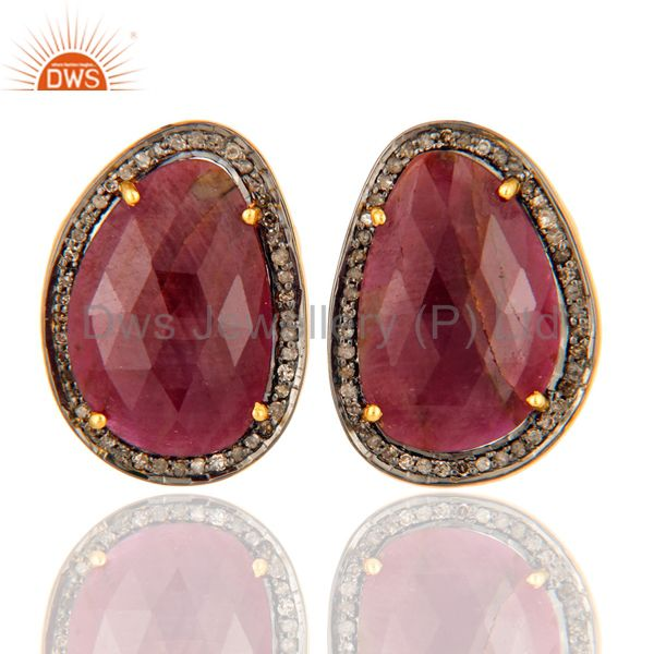 925 Sterling Silver Pave Setting Diamond Ruby Victorian / Antique Stud Earrings