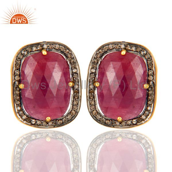Pave Set Diamond Ruby Gemstone Stud Earring In 18K Gold Over Sterling Silver 925