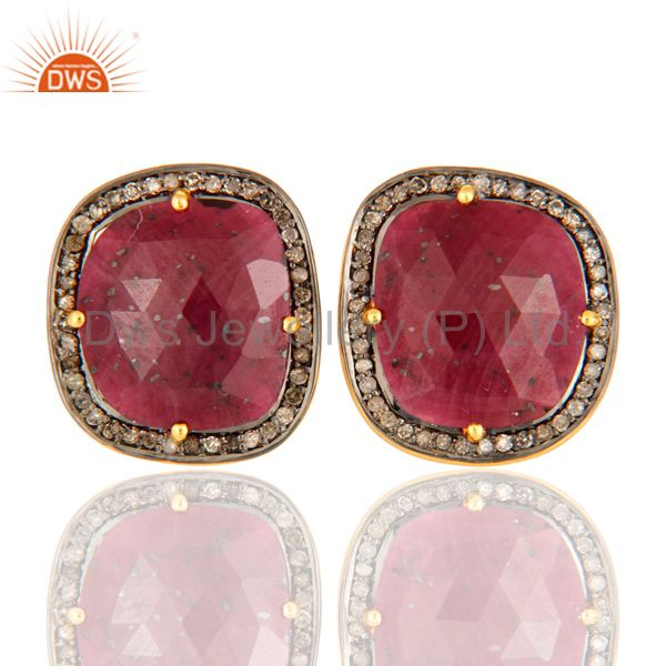 925 Sterling Silver Ruby Gemstone Stud Earring With Pave Set Diamond Jewelry