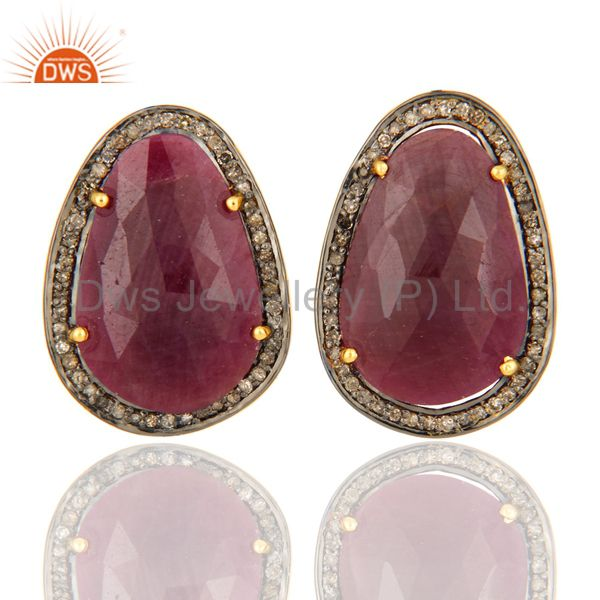 925 Sterling Silver Pave Diamond Natural Ruby Gemstone 4 Prong Set Studs Earring