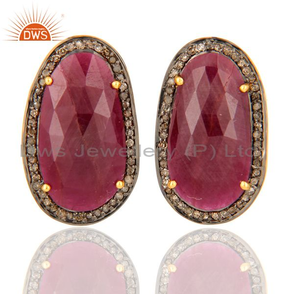 Pave Set Diamond Sterling Silver Precious Ruby Gemstone Stud Earrings Jewelry