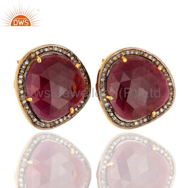 18K Gold Plated Sterling Silver Ruby Gemstone Stud Earrings With Pave Diamond
