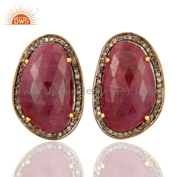 Natural Ruby Earrings 0.538 ct Diamonds Pave Set Sterling Silver Studs Earrings