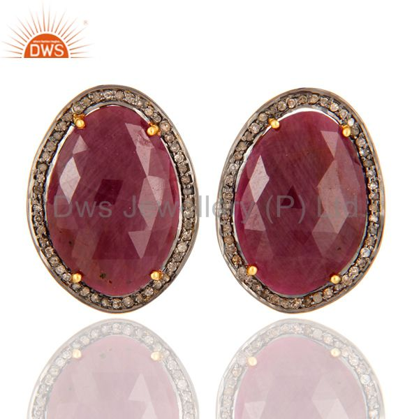 18K Gold Plated Sterling Silver Diamond Pave Ruby Vintage Look Stud Earrings