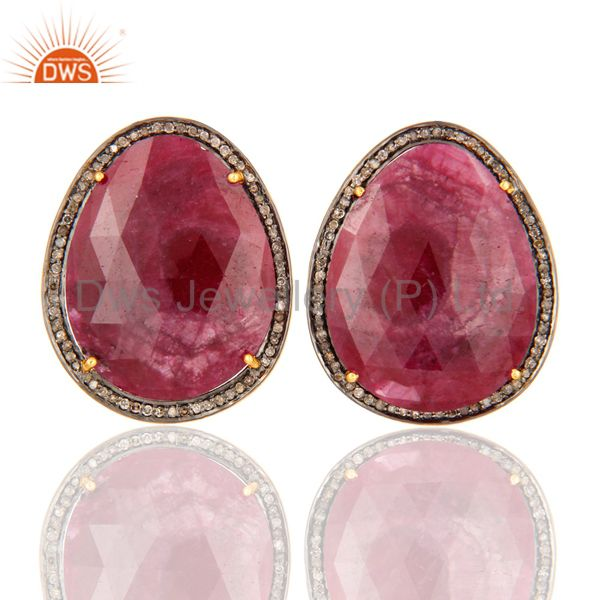 Natural Ruby Gemstone Pave Diamond Stud Earrings In 18K Gold On Sterling Silver