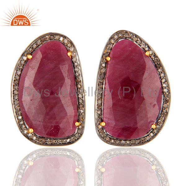 Ruby Pave Set Diamond 925 Sterling Silver Ladys Retro Style Stud Earrings