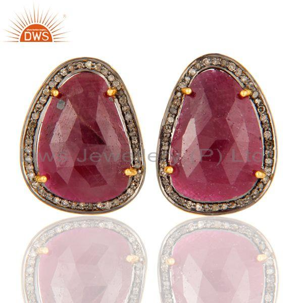22K Gold Over Sterling Silver Faceted Gemstone Ruby Pave Diamond Studs Earrings