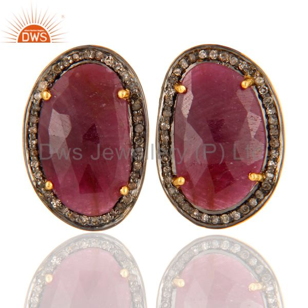 Natural Ruby Gemstone 925 Sterling Silver Mens Diamond Cufflinks - Gold Plated