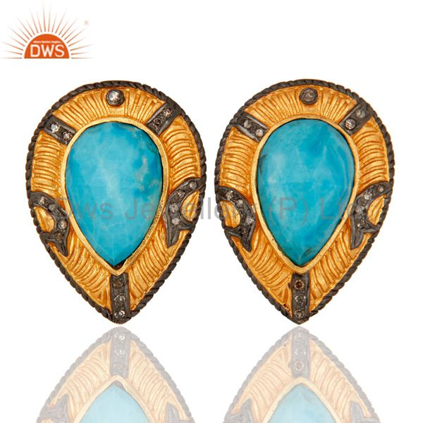 Turquoise Gemstone 925 Sterling Silver Pave Diamond Stud Earrings - Gold Plated