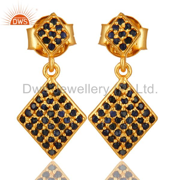 Pave Set Blue Sapphire Sterling Silver Drop Earrings With 14K Yellow Gold Plated