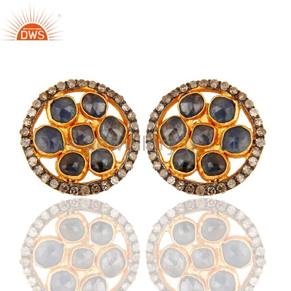 Blue Sapphire And Pave Diamond Round Stud Earrings In 18K Gold Over Solid Silver