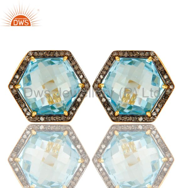 Blue Topaz And Pave Diamond Hexagon Stud Earrings Made In 18K Gold On Silver