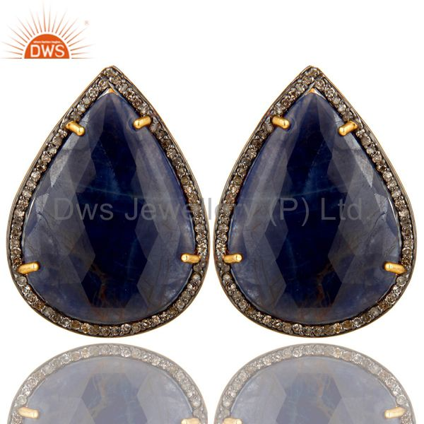18K Gold Over Sterling Silver Pave Diamond And Blue Sapphire Drop Stud Earrings