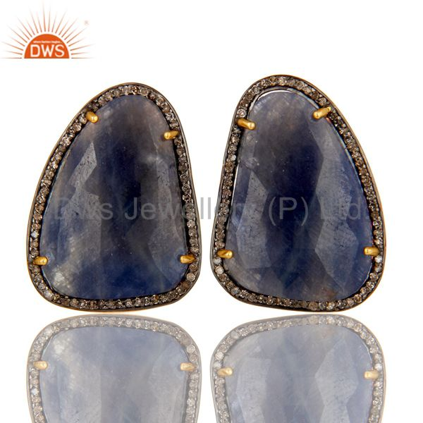 18K Gold Sterling Silver Pave Diamond And Blue Sapphire Fashion Stud Earrings