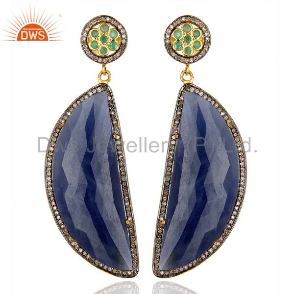 Natural Diamond Blue Sapphire D Shape 14K Gold Plated  92.5 Dangle Earring