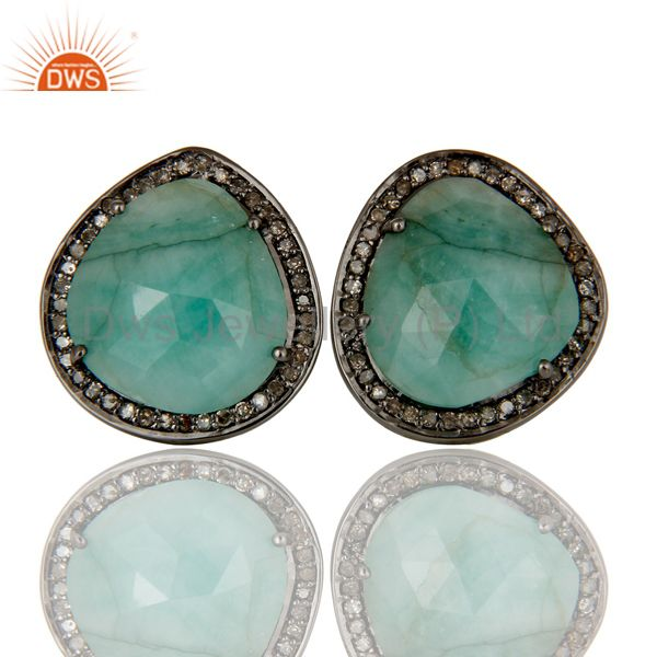 Diamond and Emerald Black Oxidized Sterling Silver Stud Earring
