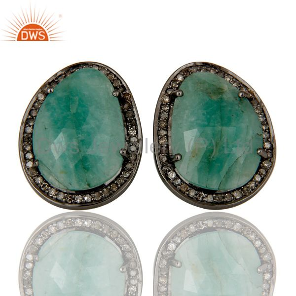 Diamond and Emerald Sterling Silver Black Oxidized Earring Stud
