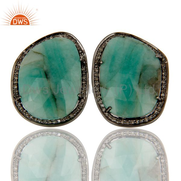 Sterling Silver Oxidized Diamond and Emerald Stud Earring