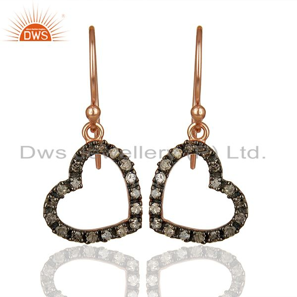 Genuine Pave Diamond Rose Gold Plated Silver Heart Earrings Wholesale