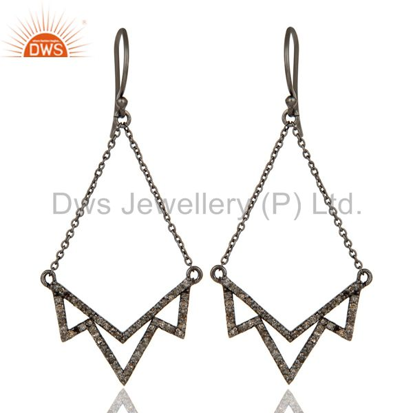 Diamond Cut Stone Lotus Dangler Earring Oxidized Sterling Silver Earring
