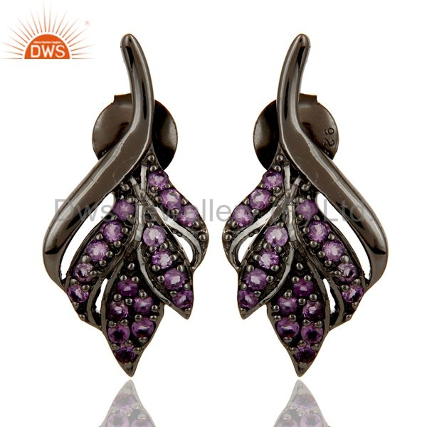 Leaf Rame Design Amethyst and Oxidized Sterling Silver Stud Earring