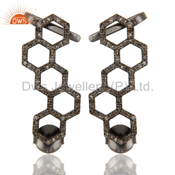 Black Oxidized Pave Diamond 925 Sterling Silver Exclusive Earrings Jewelry