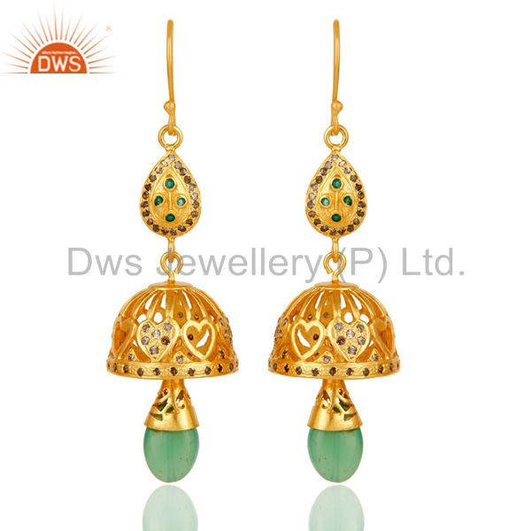 18k Gold Plated Sterling Silver Diamond Cut & Multi Color Stone Jhumka Earrings