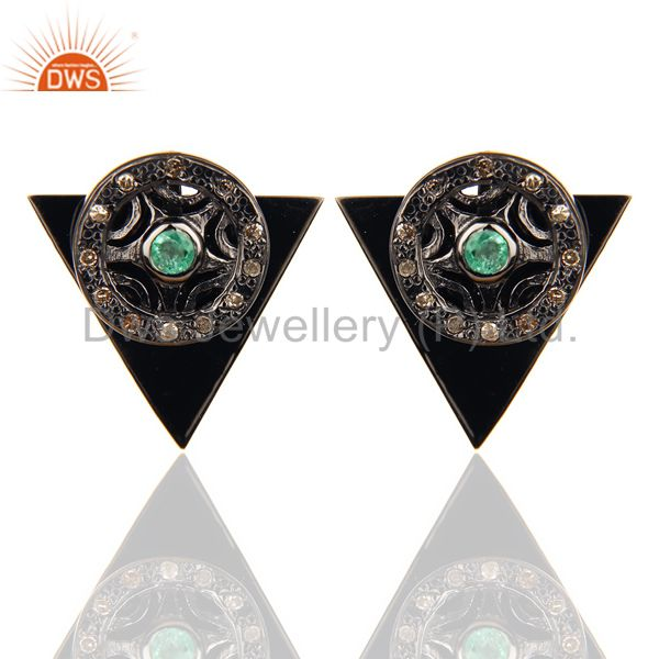 Natural Diamond Emerald Two Way Triangle Earring Black Rhodium Silver Earring
