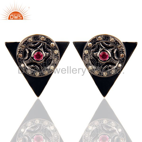 Natural Diamond Ruby Two Way Triangle Earring Black Rhodium Silver Earring