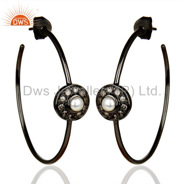 Natural Diamond Black Rhodium Plated Pearl Hoop In 92.5 Solid Silver