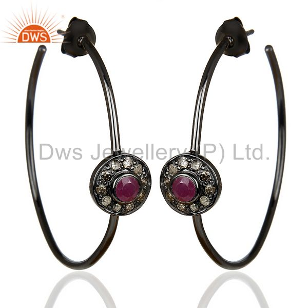 Natural Diamond Black Rhodium Plated Ruby Hoop In 92.5 Solid Silver