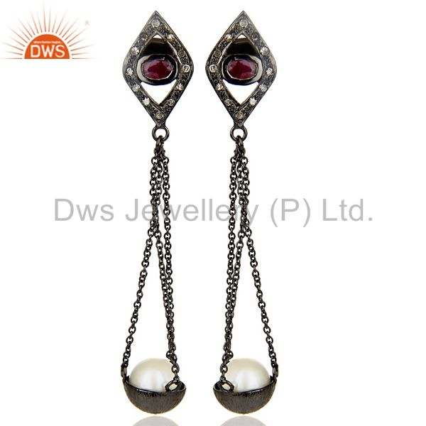 Natural diamond And Pearl Dangle Earring,Long Ruby Earring