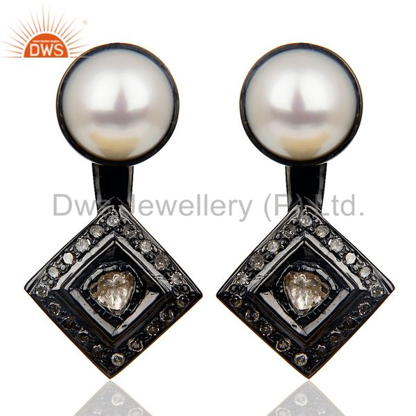 Natural diamond And Pearl Double Jacket Earring Diamond Polki Earring