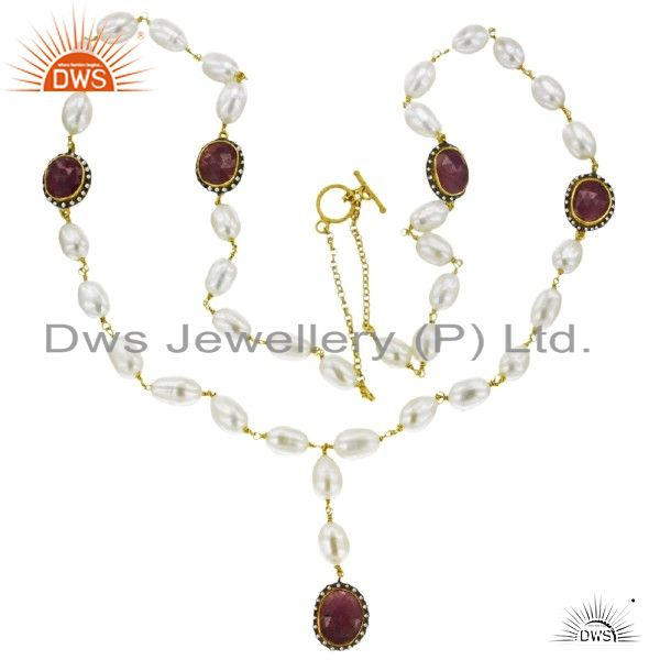 189 ct Pearl/Ruby Diamond Beads 18 k Gold Plated 925 Silver Chain Fashion Neckla