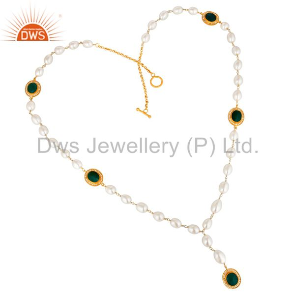 14K Yellow Gold Plated Sterling Silver Green Onyx And Pearl Statement Necklace