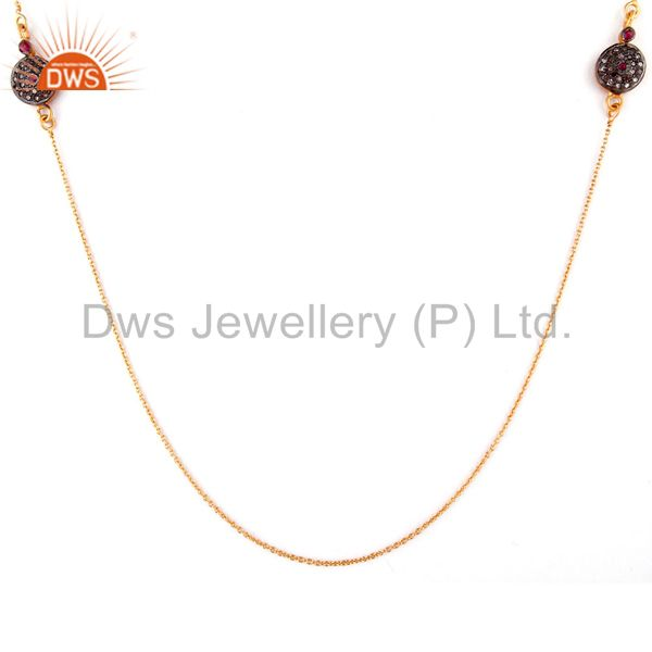 18k Yellow Gold Over Sterling Silver Pave Diamond Ruby Gemstone Chain Necklace