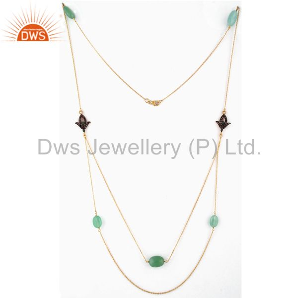 Pave Diamond Emerald Sterling Silver Chrysoprase 18k Gold Plated Chain Necklace