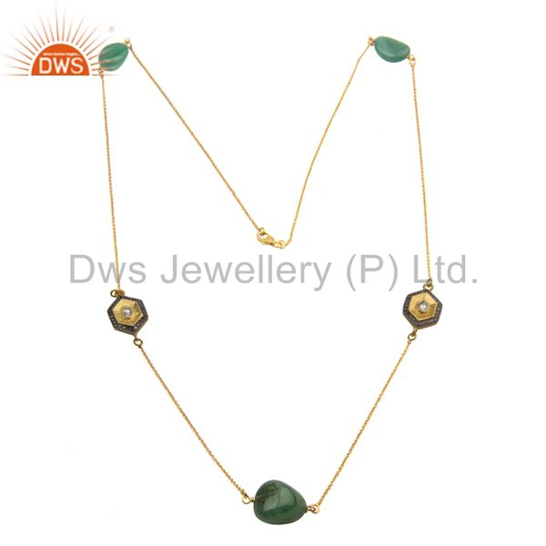 18 Kt. Gold Plated Sterling Silver Pave Diamond Emerald Gemstone Tumble Necklace