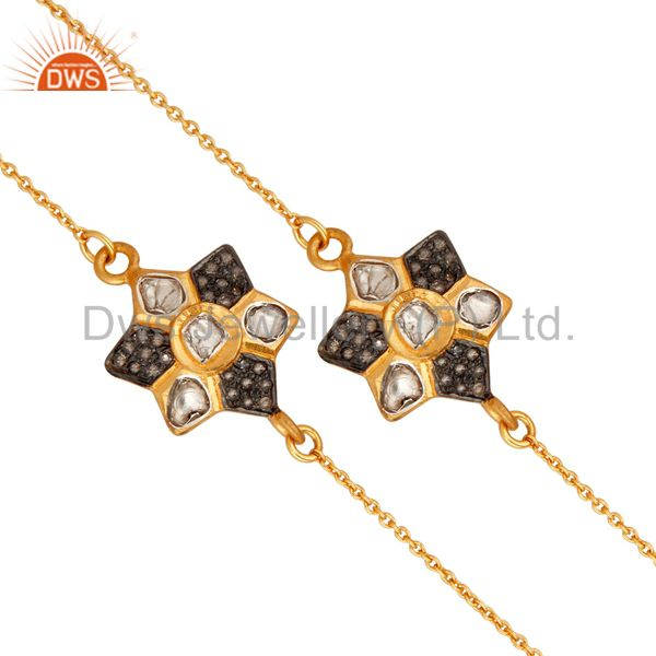 Handcrafted 22k Gold Plated 925 Sterling Silver Rose Cut Diamond Necklace