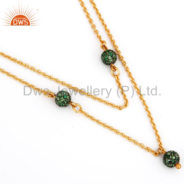 18K Yellow Gold Plated Sterling Silver Tsavorite Link Chain Necklace Jewelry