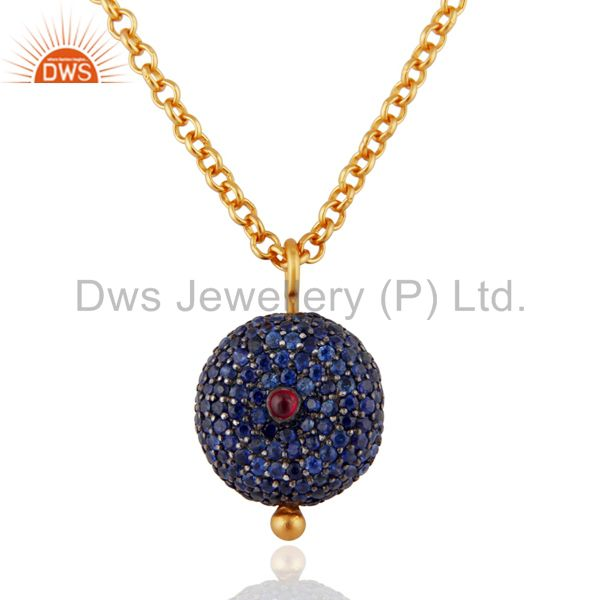 18K Gold Plated Sterling Silver Ruby & Blue Sapphire Gemstone Pendant With Chain