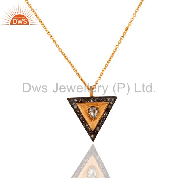 Rose Cut Diamond 18K Yellow Gold Over Silver Sterling Pendant Necklace Jewelry