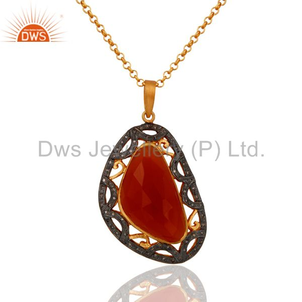 925 Sterling Silver Pave Diamond Carnelian Gemstone Pendant Necklace Jewelry